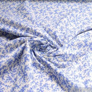 Stoff Baumwolle Mille Fleurs ecru blau Baumwollstoff Tausend Blümchen mittelblau