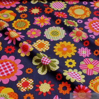 Stoff Kinderstoff Baumwolle Popeline dunkelblau Blume bunt little Darling Blume