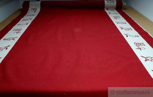 Stoff Baumwolle Polyester Rips rot Elch rot Bordüre Tischdecke Weihnachtsstoff