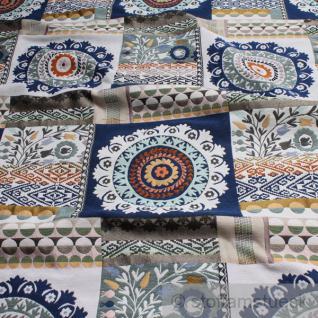 Stoff Baumwolle Polyester Jacquard blau Rosette Blumen Blümchen Kreise Raute