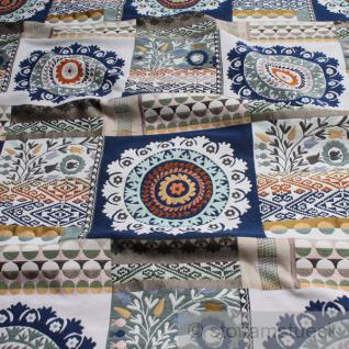 Stoff Baumwolle Polyester Jacquard Rosette blau Blumen Blümchen Kreise Raute