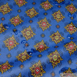 Stoff Baumwolle Acryl Provence kobaltblau Ornament wasserabweisend Valdrome