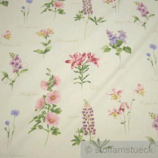 Stoff Baumwolle Rips Blumen Akelei Lilie Kornblume 280 cm breit