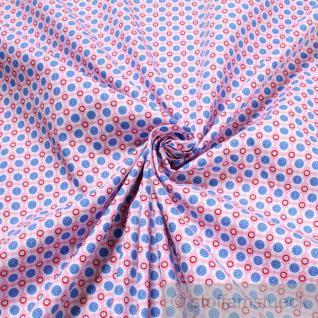 2 Meter Stoff Baumwolle Popeline rosa Prilblume himmelblau kleine Blümchen