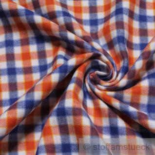 Stoff Baumwolle Flanell Karo blau orange bügelarm Baumwollstoff
