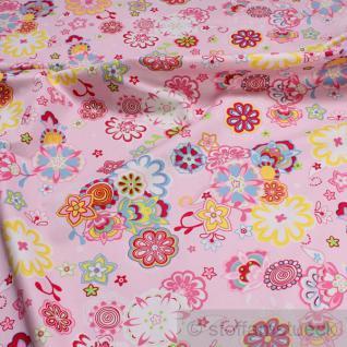 Stoff Baumwolle Feinköper rosa Blume fest weich Baumwollstoff