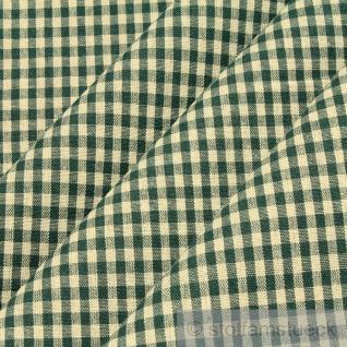 Stoff Baumwolle Vichy Karo ecru tannengrün 2, 5 mm Vichykaro