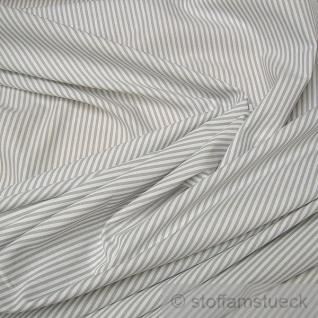 Stoff Baumwolle Römerstreifen hellgrau weiß 2, 5 mm Streifen Baumwollstoff