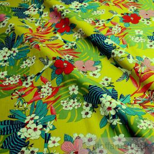 Stoff Baumwolle Popeline kiwi Kolibri bunte Blumen Philodendron Baumwollstoff