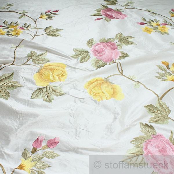 Stoff Dupionseide weiß Stickerei Blume edel bestickt Blumen Blüte Barock
