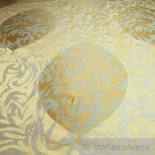 Stoff Trevira® CS Jacquard Blatt gold mint B1 schwer entflammbar