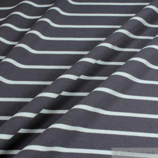 Stoff Baumwolle Interlock Jersey Streifen graphitgrau helltürkis kbA GOTS