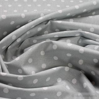 Stoff Baumwolle Punkte klein hellgrau weiß Tupfen Baumwollstoff 160 cm breit