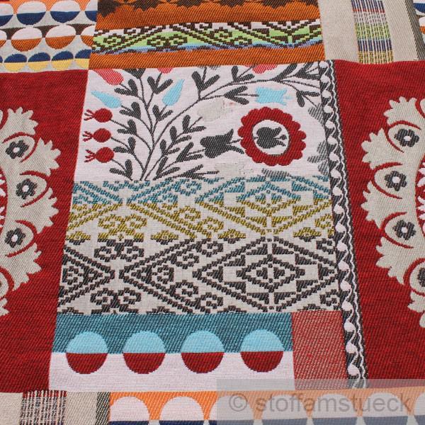 stoff baumwolle polyester jacquard rot rosette blumen bl mchen kreise raute kaufen bei stoff. Black Bedroom Furniture Sets. Home Design Ideas
