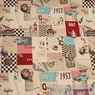 Stoff Polyester Baumwolle Jacquard 50'er Jahre Fiftie's Rock 'n' Roll Jukebox
