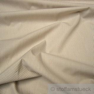 Stoff Baumwolle Vichy Karo klein beige weiß weiss 1, 5 mm Vichykaro