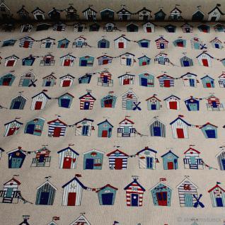 Stoff Baumwolle Polyester Rips natur Badehaus Dänemark Strand Badehäuschen