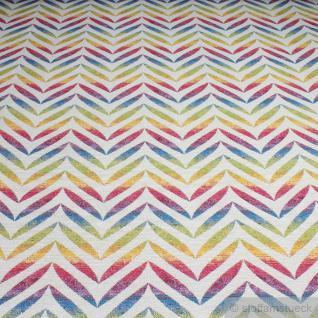 Stoff Baumwolle Polyester Gobelin Regenbogen Oval 280 cm breit bunt farbenfroh