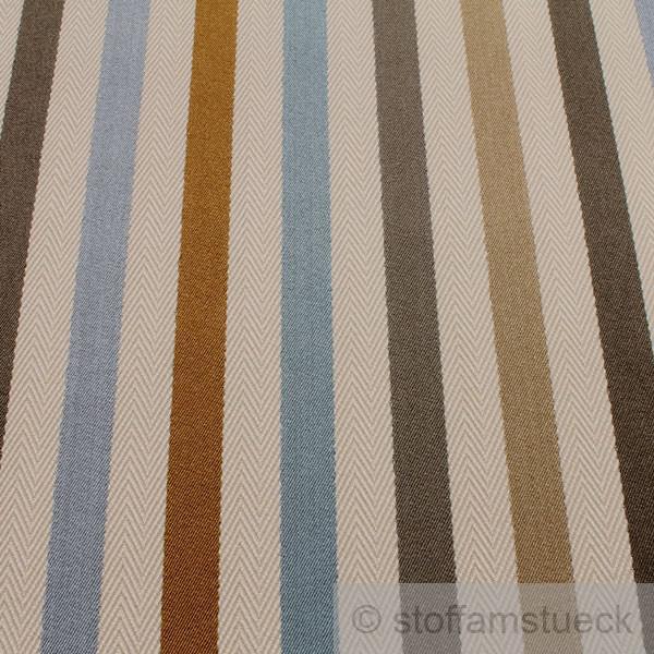 stoff viskose baumwolle fischgrat satin streifen natur blau gold polster vorhang kaufen bei. Black Bedroom Furniture Sets. Home Design Ideas