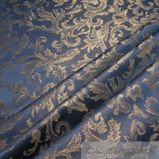Stoff Polyester Jacquard Ornament blau gold Lurex Goldbrokat Barock Rokoko 300 cm