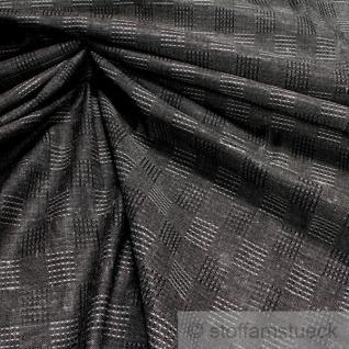 Stoff Baumwolle Wolle Viskose Karo grau anthrazit Mischgewebe blickdicht