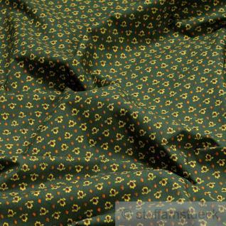 Stoff Baumwolle Provence tannengrün Blüte allover Blumen dunkelgrün Indienne