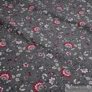 Stoff Baumwolle Provence grau Blumenranken allover pink hellgrau Indienne