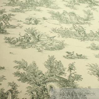 Stoff Baumwolle Toile de Jouy ländlich elfenbein grün Land 280 cm breit