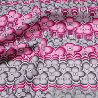 Stoff Baumwolle Popeline Blumen pink grau allover Baumwollstoff