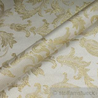 Stoff Polyester Jacquard Ornament ecru gold Lurex Goldbrokat Barock Rokoko 300 cm