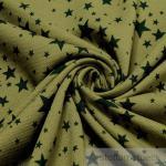 Stoff Baumwolle Jersey khaki Sternchen dunkelgrün angeraut Sweatshirt weich Stern