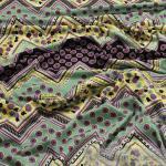 Stoff Viskose Lycra Single Jersey Zickzack lila türkis Blümchen bi - elastisch