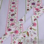 Stoff Baumwolle Provence weiß Blümchen lila Streifen Blume Indienne