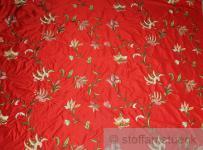 Stoff Dupionseide rot Stickerei Phantasieblume edel bestickt Blüte Barock
