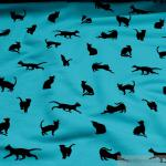 Stoff Baumwolle Lycra Single Jersey aqua schwarze Katze angeraut weich