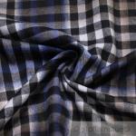 Stoff Baumwolle Flanell Bauernkaro schwarz weiß kobaltblau bügelarm Baumwollstoff Karo