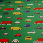 Kinderstoff Baumwolle Lycra Single Jersey grün Auto Öko-Tex Standard 100 Bus LKW