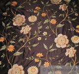 Stoff Dupionseide braun Stickerei Blume edel bestickt Blumen Blüte