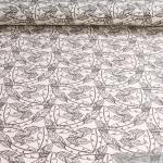 Stoff Baumwolle Lycra Single Jersey creme Feder dunkelbraun Oeko-Tex Standard