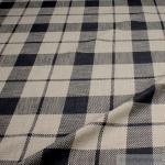 Stoff Baumwolle Viskose Leinen Karo anthrazit natur Überkaro weich