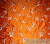 Stoff Dupionseide orange Stickerei Blume edel bestickt Blumen Blüte
