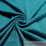 Stoff Polyester Single Jersey petrol meliert angeraut Sweatshirt weich dehnbar