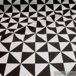 Stoff Baumwolle Polyester Rips Geometrie Quadrat schwarz weiß Dreieck