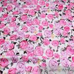 Stoff Baumwolle Lycra Köper weiß Rose lila pink elastisch Hose Jacke Rock