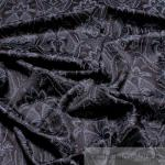 Stoff Viskose Satin schwarz Ornament anthrazit fließend fallend weich