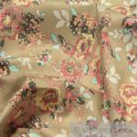 Stoff Baumwolle Lycra Köper beige Rose elastisch Hose Rock