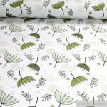 Stoff Baumwolle Lycra Single Jersey hellgrau Pusteblume greenery kale Oeko-Tex