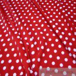 Stoff Polyester Fleece Punkte rot weiß Dots weich Polar Fleece Antipilling