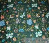 Stoff Dupionseide grün Stickerei bunte Blumen edel bestickt Blumen Blüte