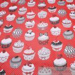 Stoff Baumwolle Acryl rot Muffins Pünktchen Törtchen Cupcake wasserabweisend